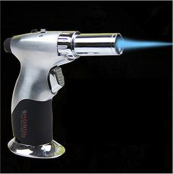 Silver Windproof Butane Steel Adjustable Flame Cigar Jet Tor
