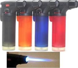 Pack of 4 Single Jet Flame Torch Lighter Windproof Refillabl