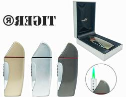 TIGER Adjustable/Refillable Single Green Torch Lighter w/ Gi