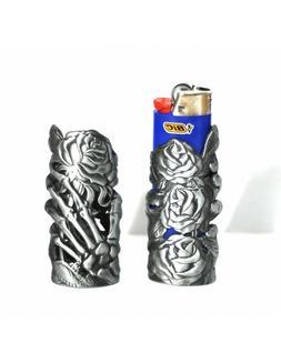Skeleton Hand & Rose Mystic Metal Lighter Case fits big bran