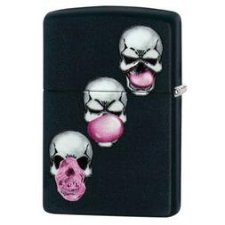 Zippo Skull Bubble Gum Pocket Lighter, Black Matte
