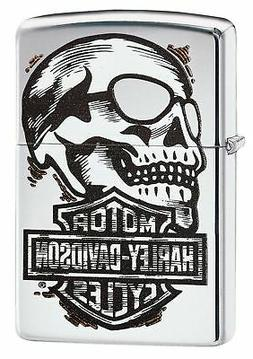 Zippo Harley-Davidson Skull & Logo Lighter, High Polish Chro