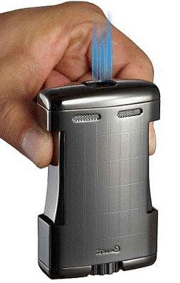 Caseti SPARTA Triple Jet Flame Cigar Table Lighter SATIN GUN