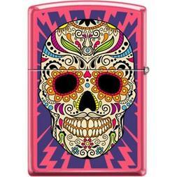 ZIPPO Sugar Skull Neon Pink Lighter Day Of The Dead Lighting