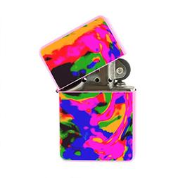 Tie Dye Psychadelic - Refillable Flip Top Pink Lighter