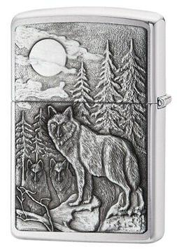 Zippo Timberwolves Emblem Brushed Chrome Lighter
