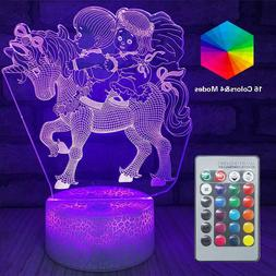 Unicorn LED Night Lights Remote 3D Touch Optical Illusion La