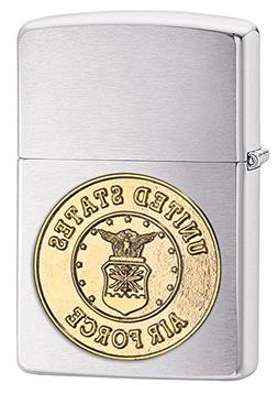 Zippo United States Air Force Emblem Pocket Lighter, Brushed