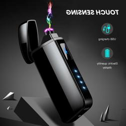 US Dual Plasma Lighter Electric Flameless Windproof USB Rech