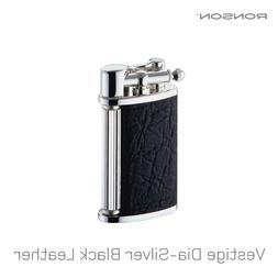 Ronson Vestige Silver Black Leather Soft Flame Gas Flint Lig