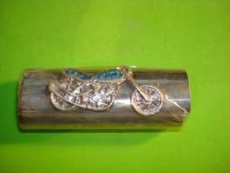 Vintage Metal Faux Turquoise Motorcycle Lighter Case/Holder