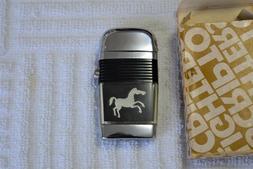 Vintage Unfired Scripto Vu Lighter in box Horse Black Chrome