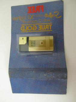 VTG Scripto Electra XL Lighter True Gold NIP Tobacco Adverti