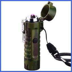 Waterproof Lighter USB Plasma Rechargeable Electric W Flashl