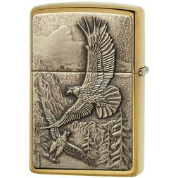 Zippo Where Eagles Dare Emblem Brushed Brass Lighter