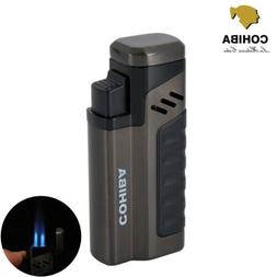 COHIBA Windproof Metal 4 Torch Gas Jet Flame Cigar Cigarette