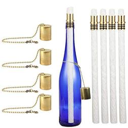 EricX Light Wine Bottle Tiki Torch Kit 4 Pack, Includes 4 Lo