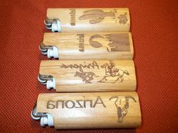 Wood Scripto Lighter Holder Cases Sleeve  Lot of 4 w/ LIGHTE
