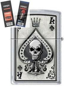 Zippo 4858 Ace of Spades Skull Lighter with *FLINT & WICK GI