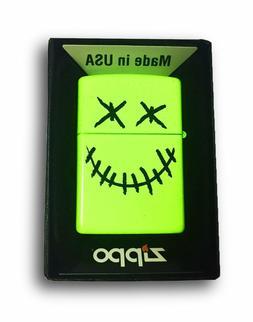 Zippo Custom Lighter Stitched Skull Face Neon Yellow Finish
