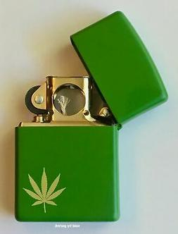 Zippo Engraved Gold Marijuana Leaf Lighter With GOLD Pipe In