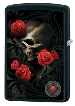 Zippo Lighter: Anne Stokes Skull and Roses - Black Matte 800