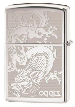 Zippo Lighter: Dragon, Engraved - High Polish Chrome 76458