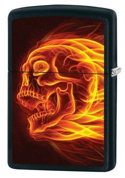 Zippo Lighter: Flaming Skull - Black Matte 79995