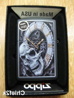 Zippo Lighter Skull Clock Design 29854 Matte Black