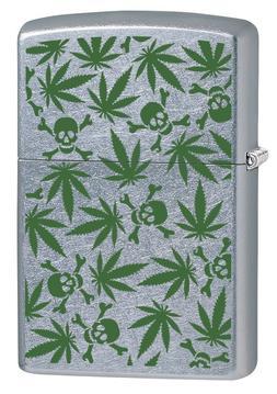 Zippo Lighter: Weed Leaves and Skulls - Street Chrome 79866