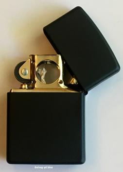 Zippo Windproof Black Matte Lighter With GOLD Pipe Insert, 2