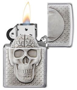 Zippo Windproof Emblem Skull Lighter With Brain Surprise, 29