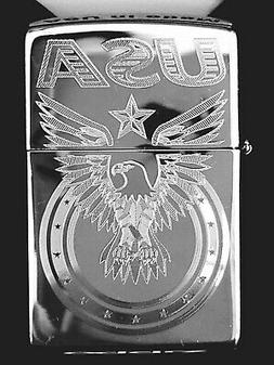 Zippo Windproof Engraved Eagle & USA, Patriotic Lighter, 250