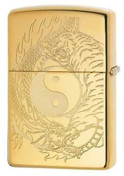 Zippo Windproof Lighter With Engraved Yin & Yang Tiger & Dra