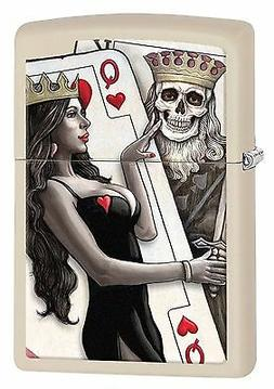 Zippo Windproof Lighter With Skull King and Sexy Queen Beaut