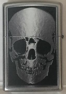 Zippo Windproof Skull X-Ray Lighter, Finish Is Satin Chrome,