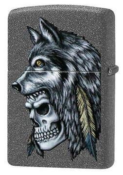 Zippo Windproof Wolf & Skull Design Lighter, 29863, New In B